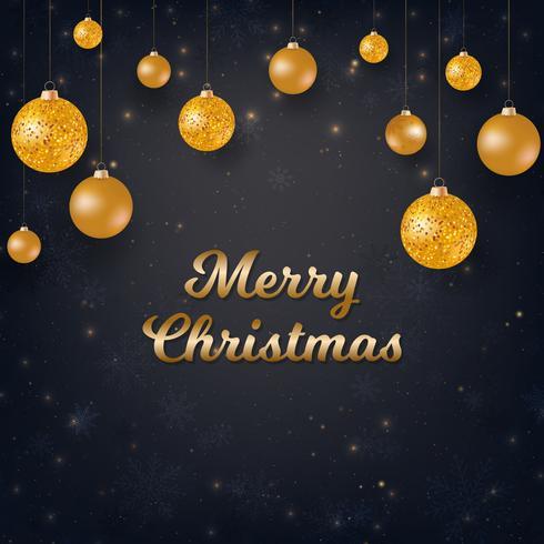Joyeux Noël fond noir avec des boules de Noël or vecteur