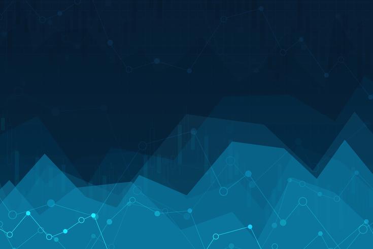 Illustration vectorielle d'un fond abstrait avec des graphiques. graphique de la négociation des investissements boursiers. vecteur