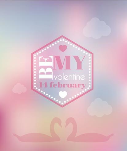 Amour fond flou avec des cygnes. Conception d'affiche floue Saint Valentin vecteur
