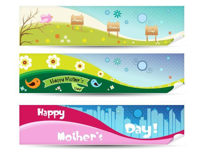 Collection de bannières pour la fête des mères vecteur
