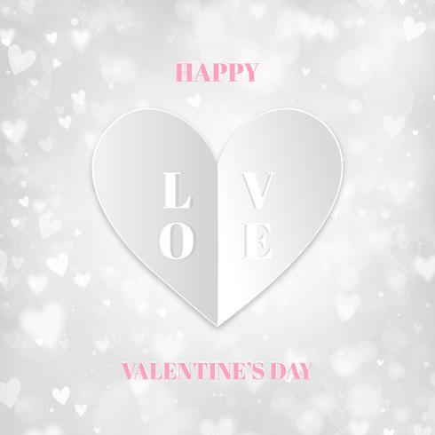 Fond blanc Saint Valentin avec coeur plié en papier, lumières bokeh vecteur