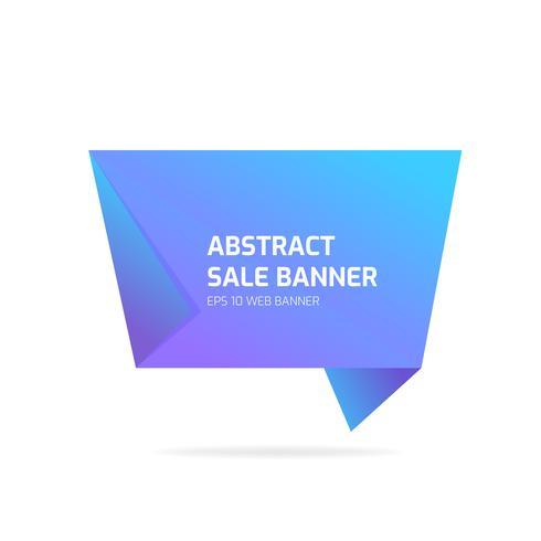 Bannière de vente abstrait origami bleu vecteur