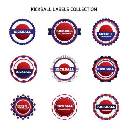 Étiquettes et badges de kickball vecteur