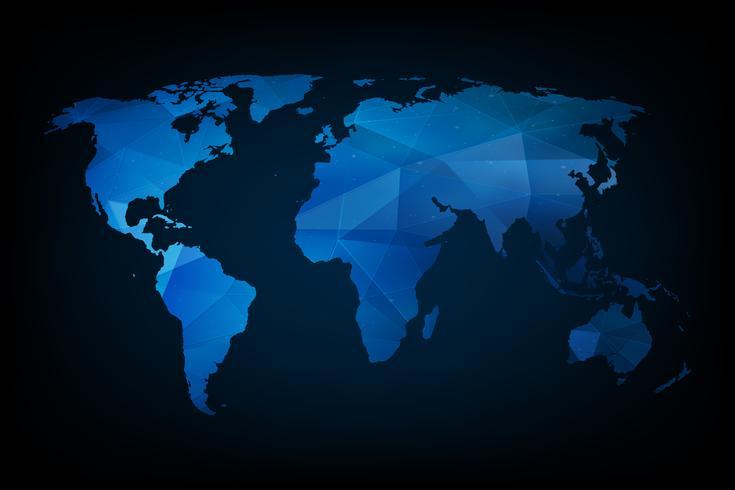 Carte du monde géométrique bleue vecteur