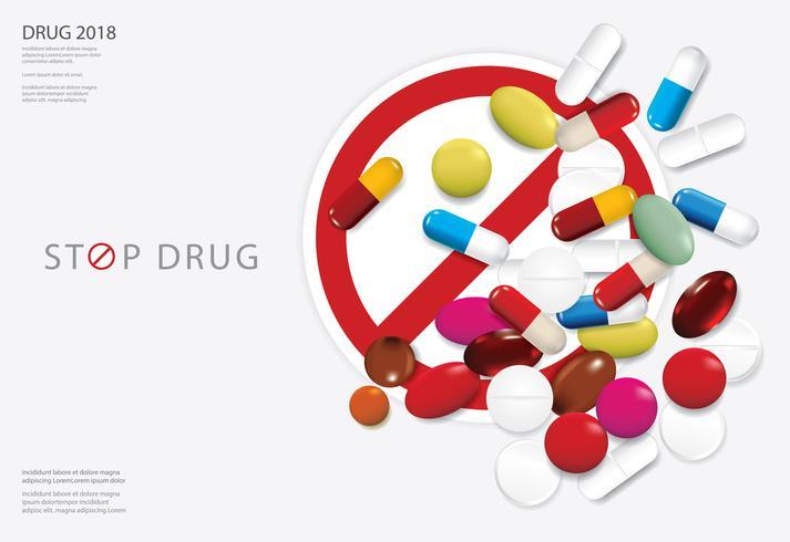 Modèle d'affiche Stop Vector Illustration de drogue