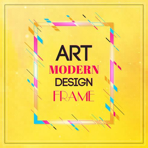 Image de vecteur pour les graphiques de texte art moderne. Cadre dynamique avec des formes géométriques abstraites colorées élégantes autour d'elle sur un fond jaune. Lignes de couleur néon à la mode dans un style moderne.