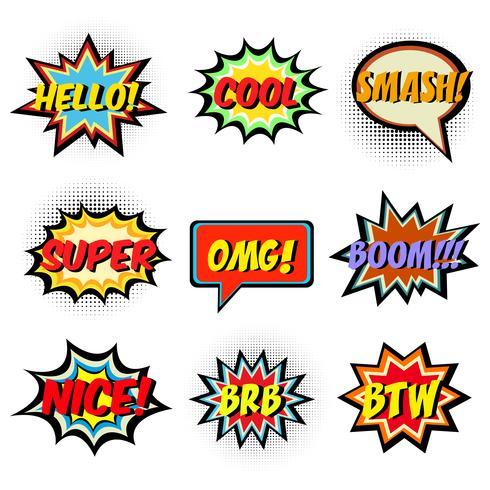 Mots de bande dessinée. Jeu de bulles de discours comique vecteur