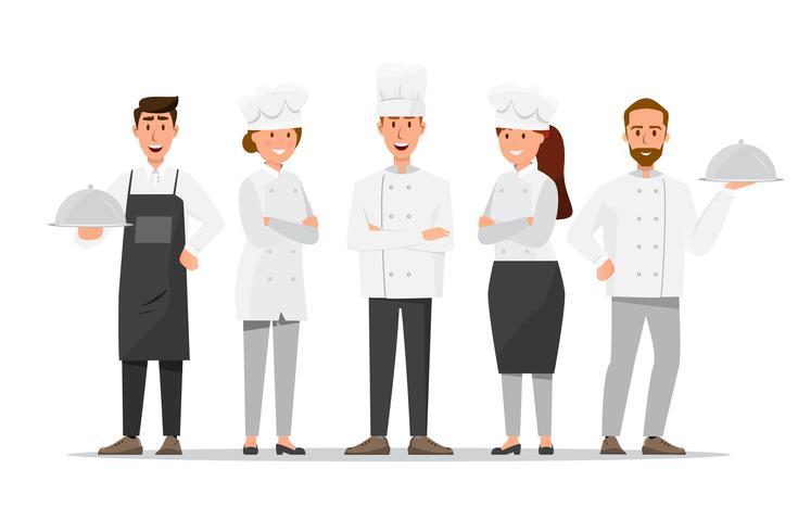 Groupe de chefs professionnels, chefs hommes et femmes. Concept d'équipe de restaurant. vecteur