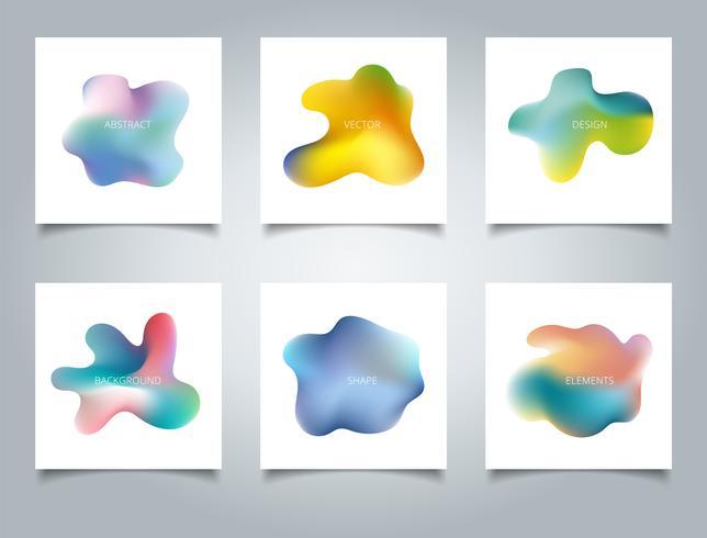 Couverture abstraite définie fond dégradé coloré composition liquide et formes fluides. vecteur