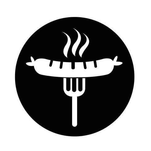 Saucisse grillée avec une icône de fourchette vecteur