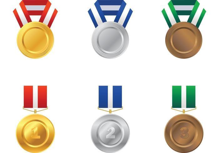Paquet vectoriel médaille d'or, d'argent et de bronze