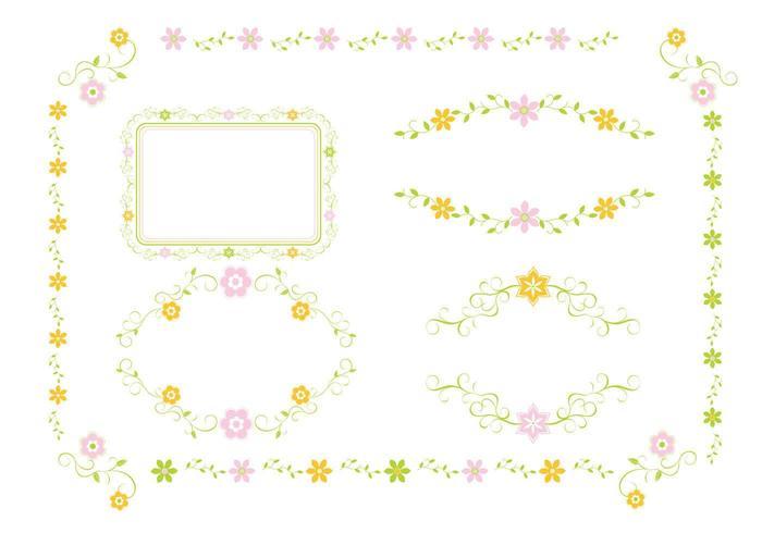 Pack de vecteur d'ornement floral rose et vert