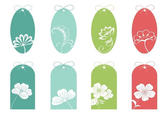 Pack de vecteur tag floral coloré