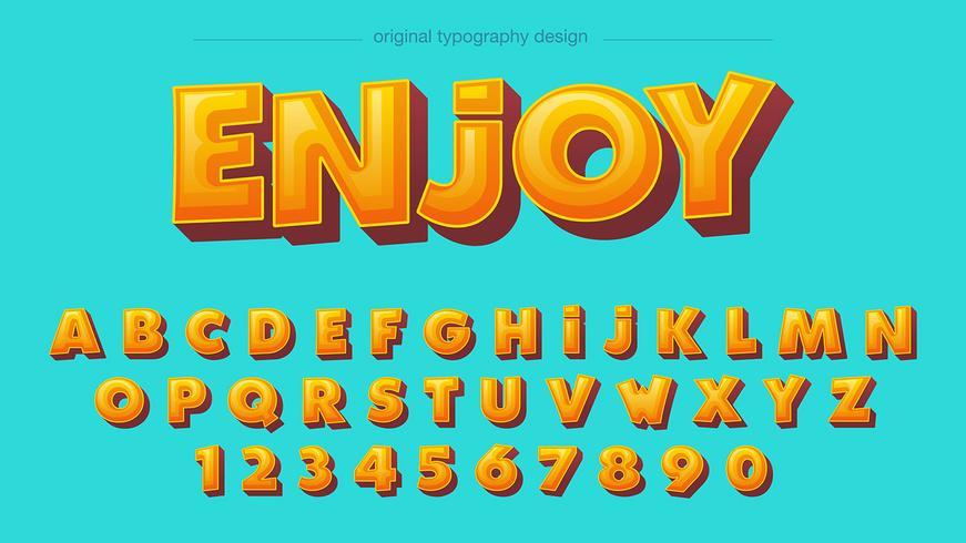 Typographie Bold Jaune Cartoon vecteur