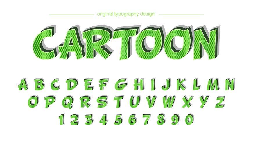 Typographie de bande dessinée verte vecteur