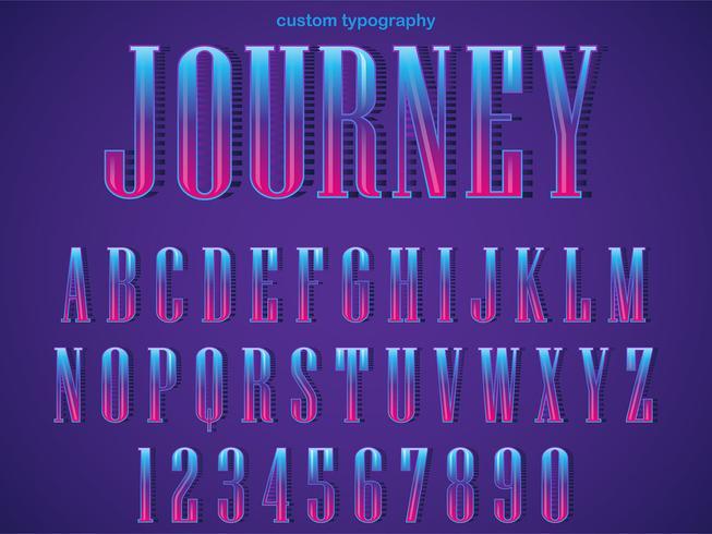 Typographie Serif pourpre coloré vecteur