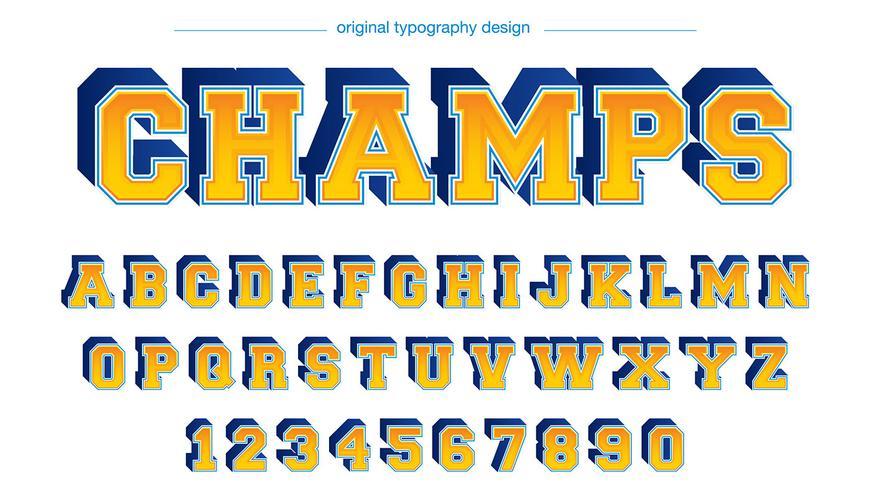 Typographie Varsity bleu-jaune-jaune vecteur