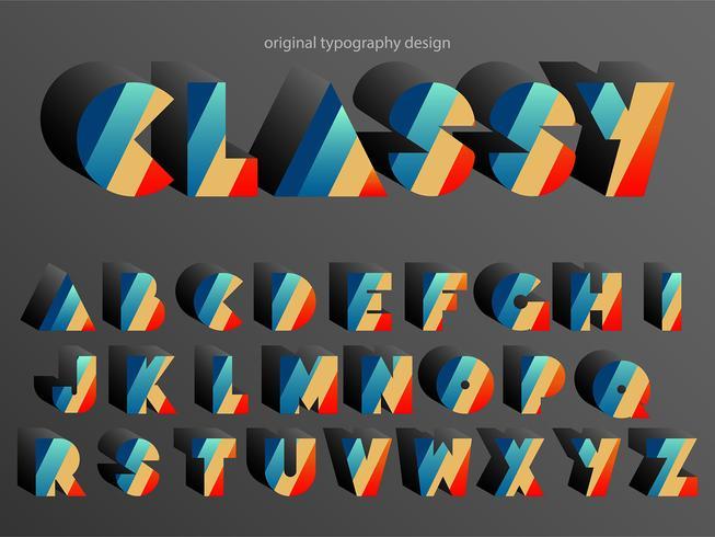 Typographie colorée vintage vecteur