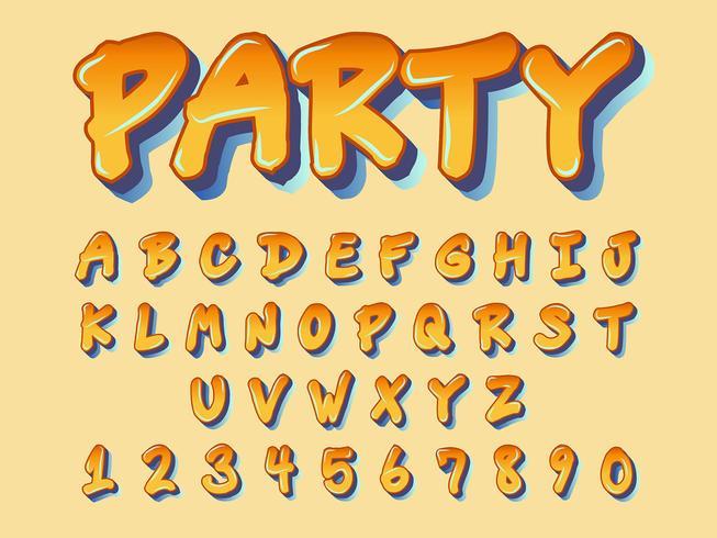 Typographie orange dessin animé vecteur