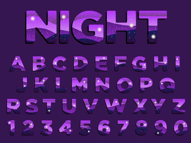 typographie nuit abstraite violet vecteur