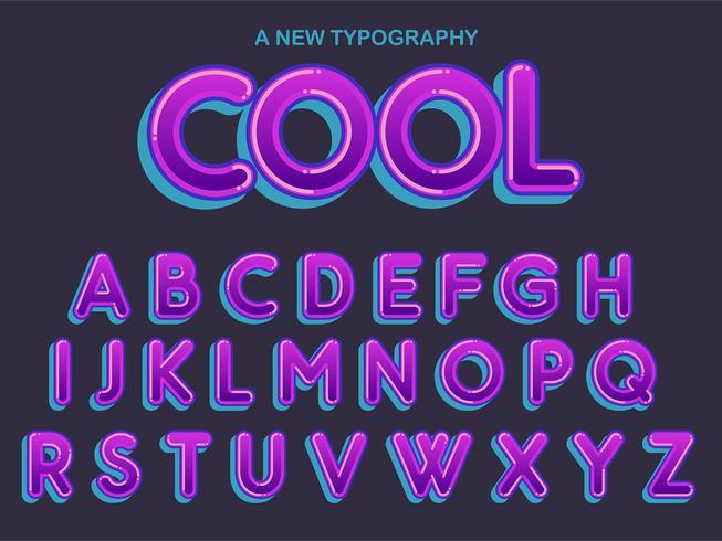 Typographie arrondie violette vecteur