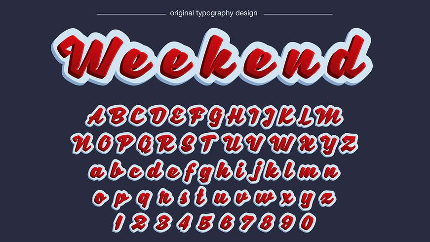 Typographie manuscrite audacieuse rouge vecteur