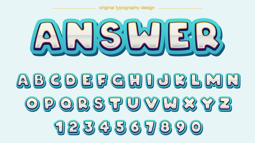 Typographie Blue Bold Chrome vecteur