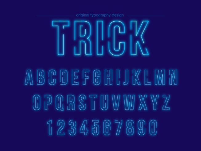 Typographie Blue Neon vecteur