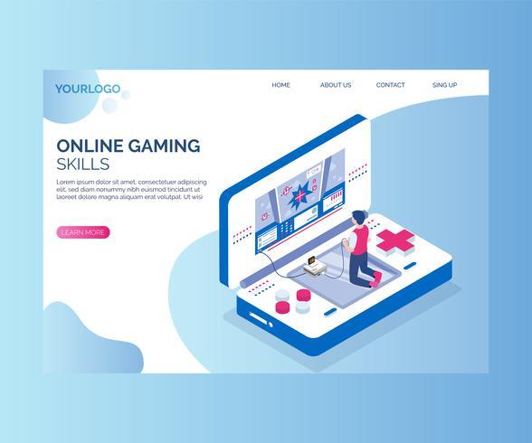 Jouer à des jeux en ligne entre eux Concept d'illustration isométrique vecteur