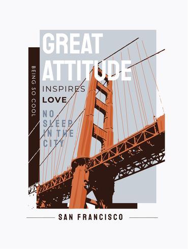 slogan de typographie avec illustration de pont vecteur