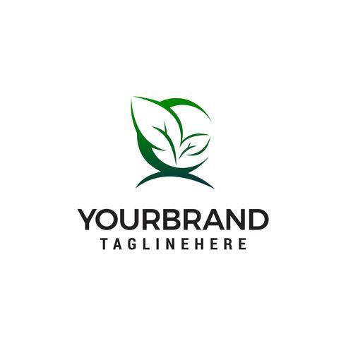 feuille verte logo design concept template vecteur