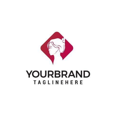 visage femmes logo design concept template vecteur