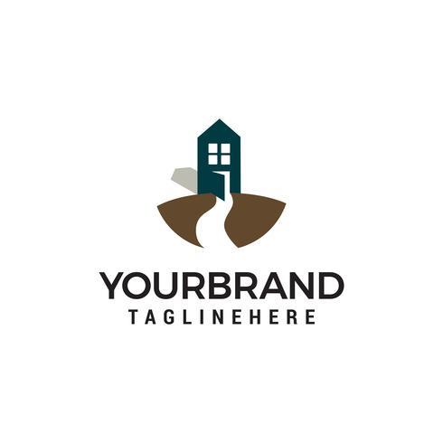 Road and House logo design concept vecteur