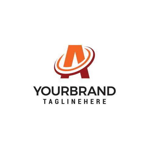 lettre Un swoosh logo design concept template vecteur