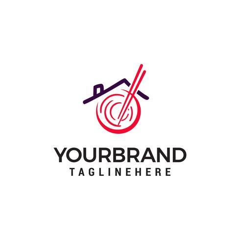 restaurant nouilles asiatiques logo design concept template vecteur