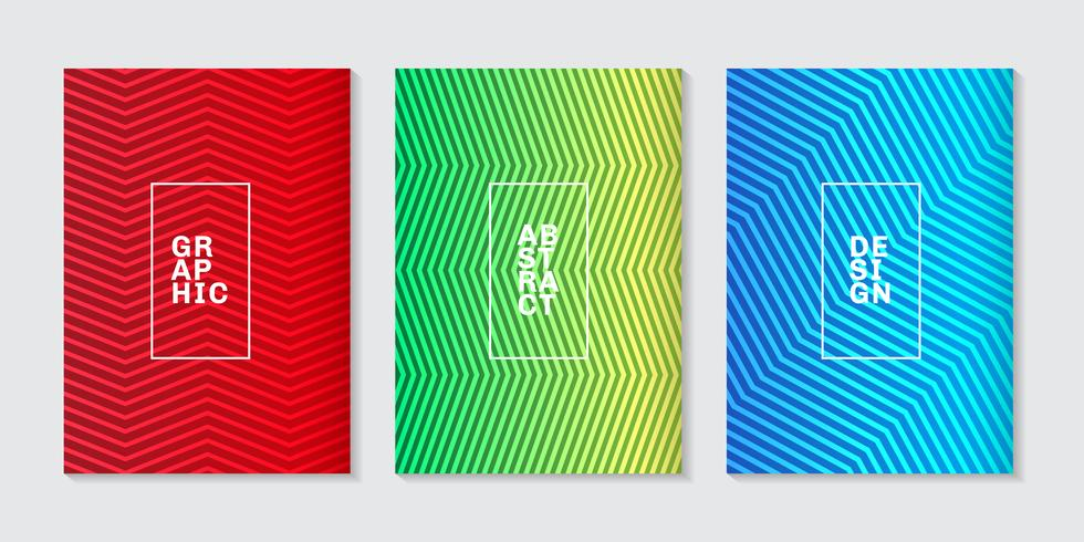 Ensemble de fond minimal couvre conception motif de ligne dégradé demi-teinte abstraite cool. Modèle géométrique futur. vecteur