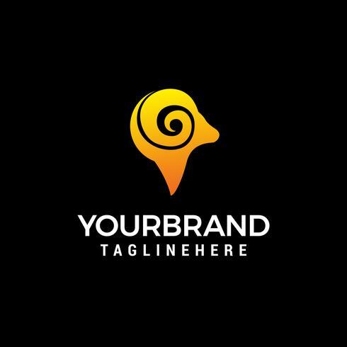 tête béliers logo design concept template vecteur