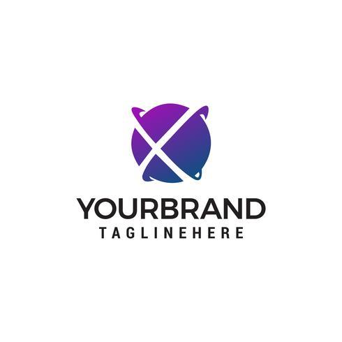 lettre x globe logo design concept template vecteur