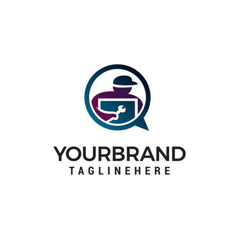 technicien logo design concept template vecteur