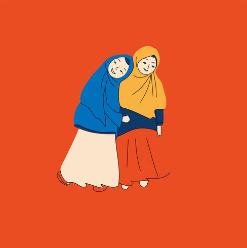 personnes musulmanes, femme, filles et homme illustration vectorielle vecteur
