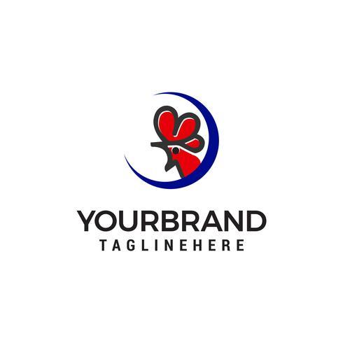 tête de poulet logo design concept template vecteur