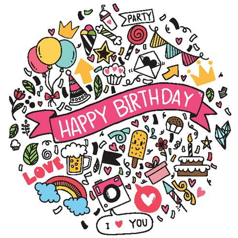 main dessinée illustration vectorielle joyeux anniversaire ornements dessinés à main levée fond doodle ementevent modèle fête vecteur