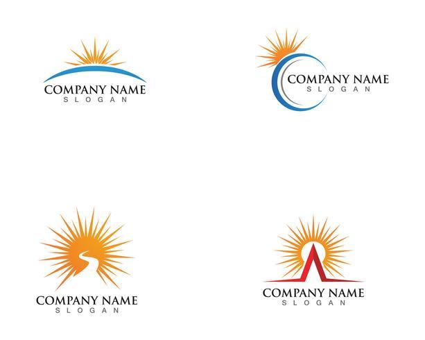 Illustration vectorielle Icône Logo Modèle Soleil sur horizon vecteur