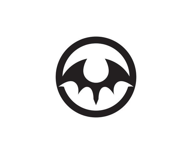 Icône de chauve-souris logo noir modèle fond blanc vecteur