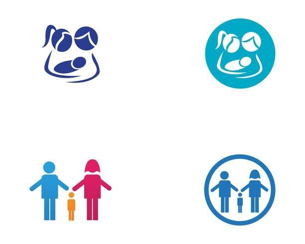 Adoption bébé et soins communautaires Icône de vecteur pour le modèle Logo