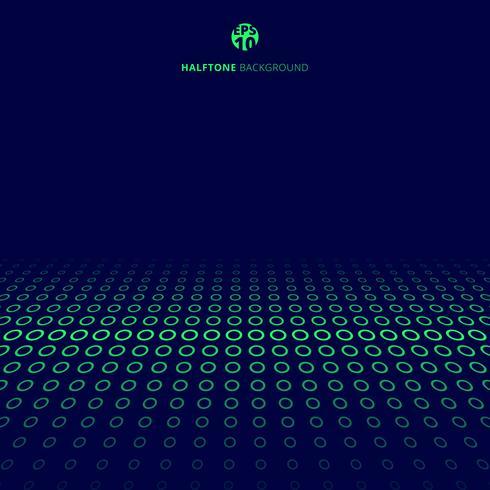 La technologie abstraite demi-teinte frontière verte cercles perspective sur fond bleu avec espace de copie. vecteur