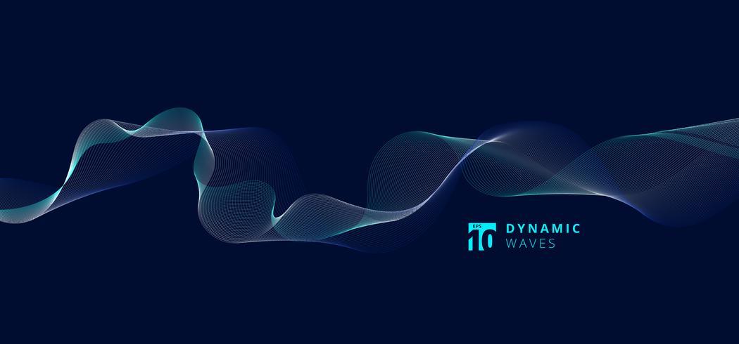 Modèle de vagues dynamiques de lignes abstraites sur fond bleu. vecteur