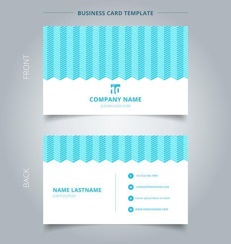 Carte de carte de visite blanche modèle de lignes dentelées de couleur blanche sur fond bleu. vecteur