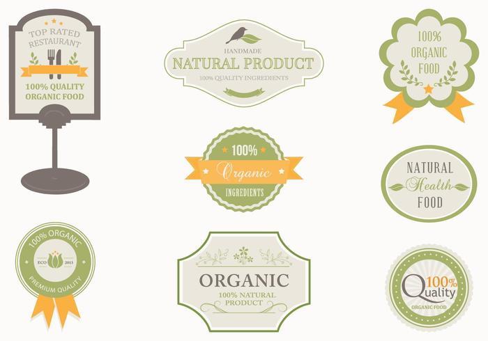 Pack d'étiquettes d'étiquettes organiques vecteur