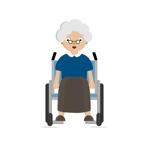 Vieille femme handicapée en fauteuil roulant vecteur